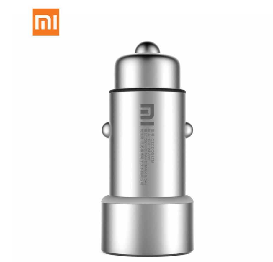 Xiaomi Metal Material Smart Charger Socket Plug Car Charger Dual USB 5V Max 3.6A with LED Fast Quick Charge for Smart Deivce quick charger qc 3 0 fast charger dual usb with output 5v 3a universal usb car mobile phone charger adaptor smartphone v20qc3