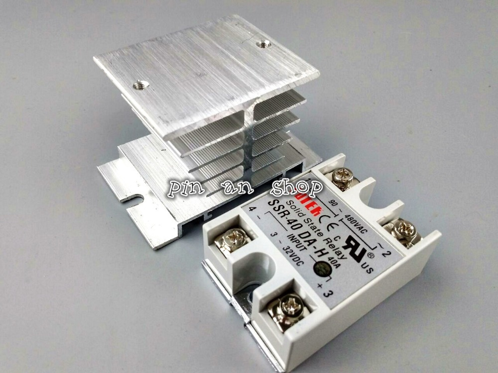 SSR-40 DA-H DC-AC Solid State Relay SSR 40A 3-32V DC / 90-480V AC w Heat Sink high quality temprature control solid state relay ssr 40a 3 32v dc 24 380v ac with heat sink