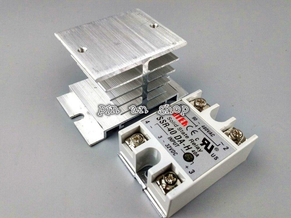 SSR-DA-H DC-AC Relè A Stato Solido SSR 40A 3-32 V DC/90-480 V AC w Dissipatore di calore
