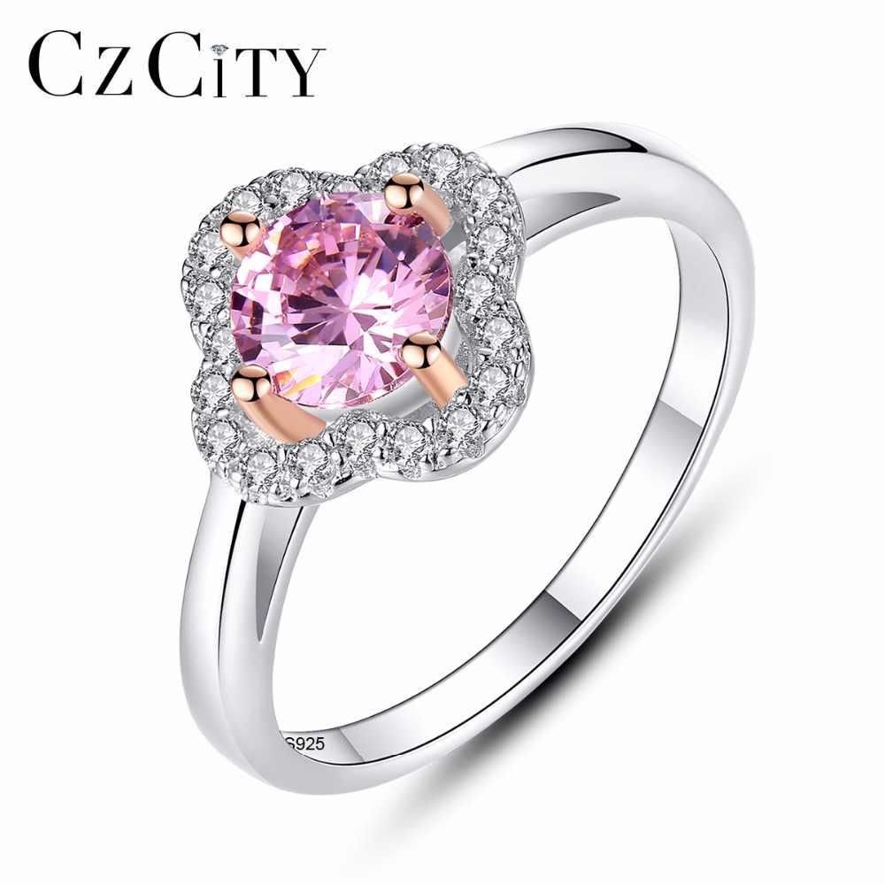 Czcity 4 Kích Thước Thật Nữ Bạc 925 Hồng CZ Đơn Giản Nhẫn Cho Nữ 2 Màu Viền Vàng Cho phụ Nữ Trang Sức Dự Tiệc