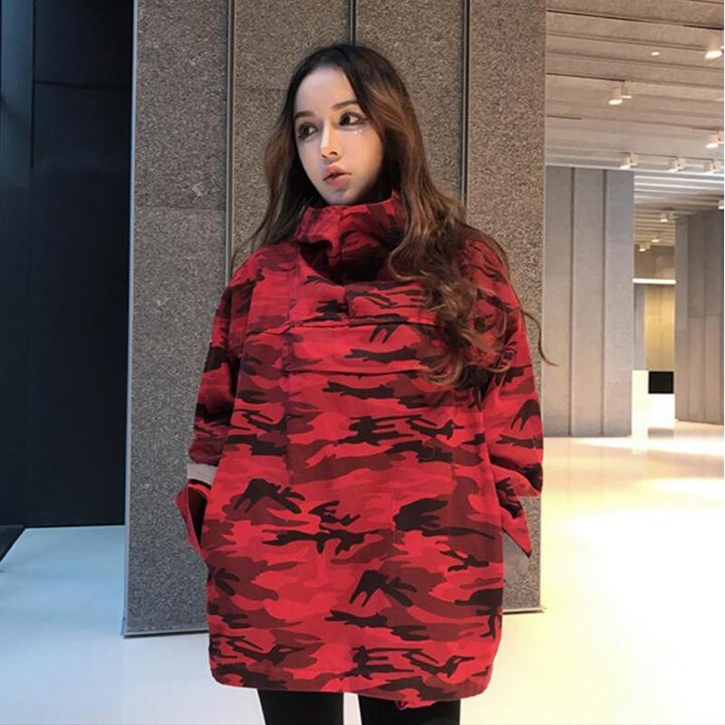 2018 Donne Cappotto Rosso Camouflage Vestiti Hip Hop Giacche Moda Cappotto Us Taglia S-XL