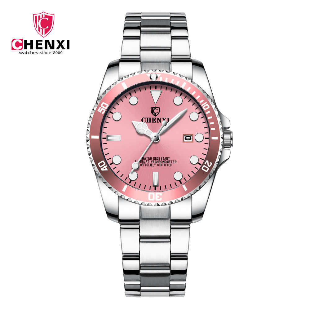 CHENXI 2018 Women Dress Watch Pink Silver Stainless Steel Watch Women Calendar Waterproof Business Quartz Female Wristwatch
