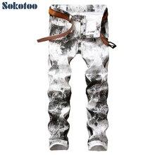 Sokotoo herrenmode tinte weiß lackiert print hosen Schlank stretch denim jeans