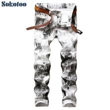Sokotoo Men's fashion ink painted white print pants Slim stretch denim jeans