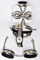 5 pcs/set stainless steel female chastity belt+bondage collar+handcuffs for sex+bra+Thigh ring bondage restraints sexy games