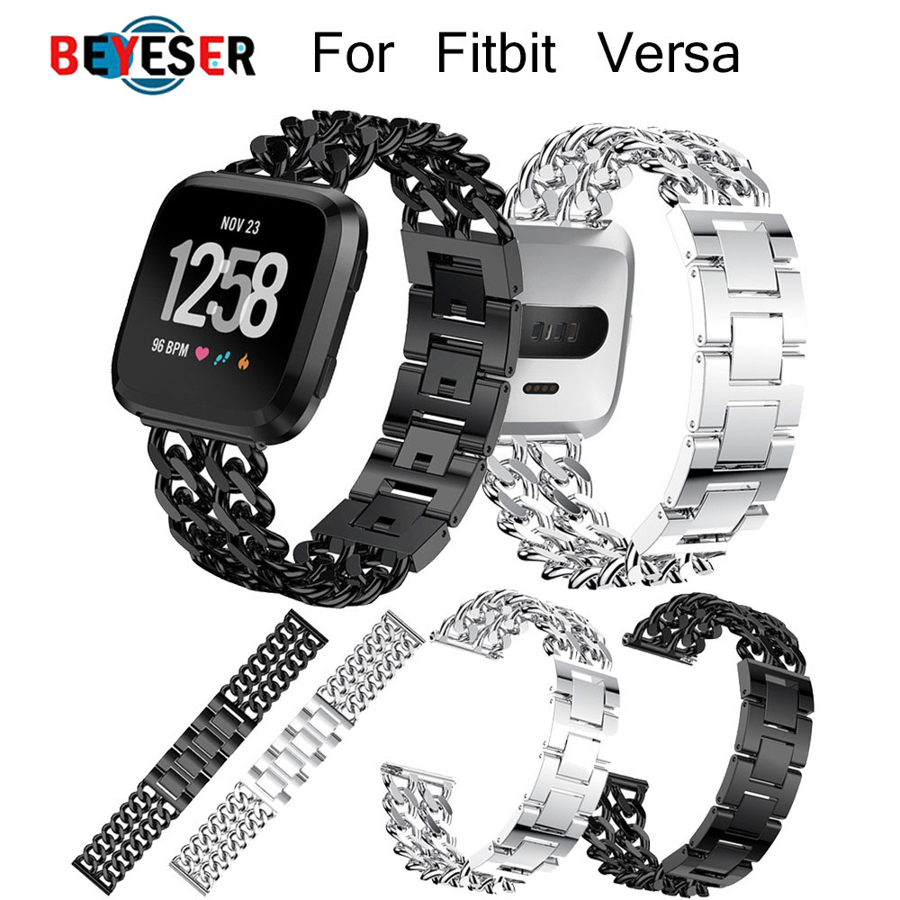Watchband for Fitbit Versa Band Stainless Steel Double Chains Style Bracelet for Fitbit Versa Strap