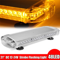 21'' 48 LED Car Emergency Warning Light Security Roof Flashing Bar Strobe Amber Car HeadLight Assembly