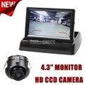 DIYKIT 4.3 Polegada Carro Invertendo Kit Câmera Back Up Monitor Do Carro LCD Display + HD CCD Câmara de Visão Traseira Back Up Cam Frete Grátis