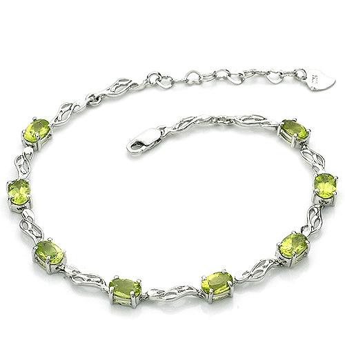 Péridot naturel Bracelet 925 en argent Sterling femme Fine élégante gemme verte bijoux fille pierre de naissance Valentine cadeau sb0006p