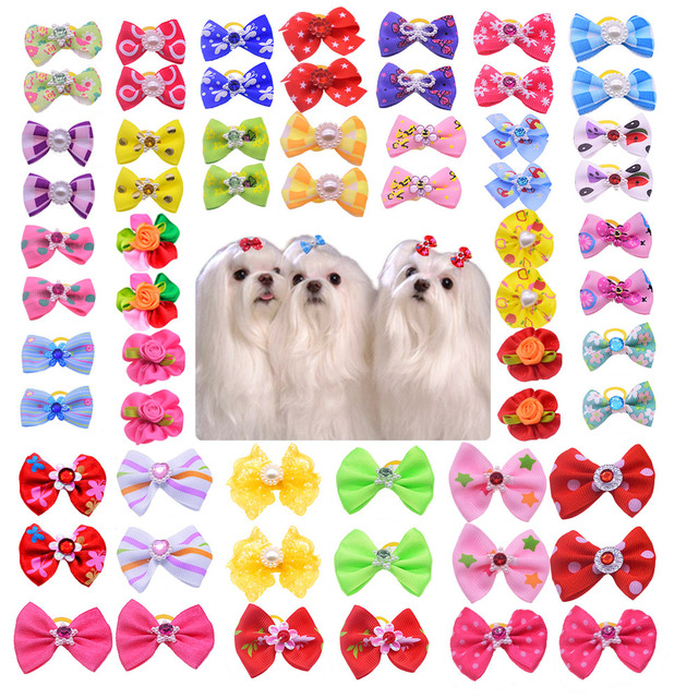 Hot Sales 100pcs Dog bows Cute Rhinestone Pearls Flowers pet dog hair bows dog hair accessories Pet grooming products Cute Gift