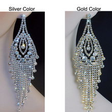 Chran New Luxury Bridal Gold Color Rhinestone Crystal Earings Wedding Party Dangle 6.1″ Chandelier Drop Earrings Jewelry LE811