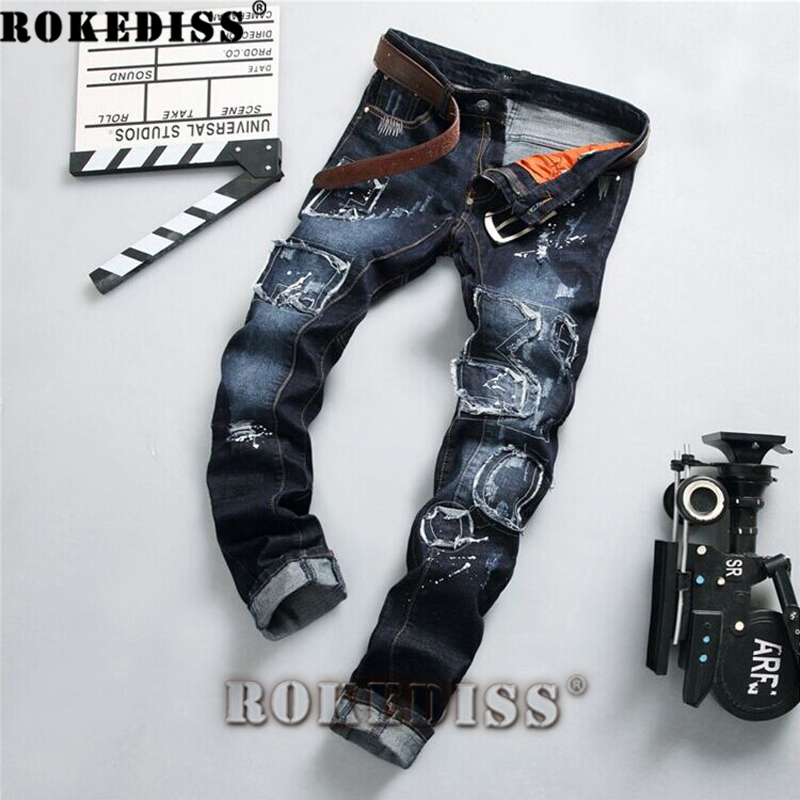 ФОТО warm jeans 2017 Spring and Autumn New products Hole Ink Slim Tide male Straight pants fashion Patch Tide pants motorcycle C189