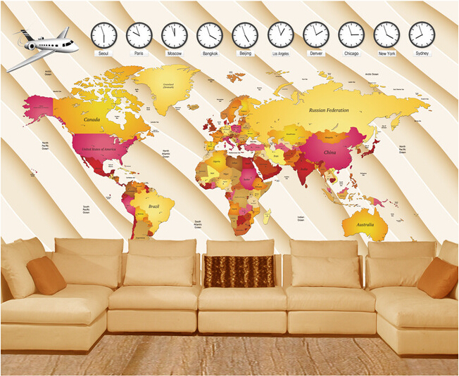Custom wallpaper children cartoon mural , the world map for the living room TV wall Papel de parede para quarto wallpaper vinyl large mural papel de parede european nostalgia abstract flower and bird wallpaper living room sofa tv wall bedroom 3d wallpaper