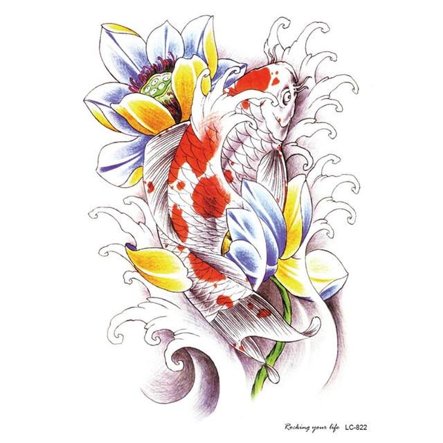 Suku Sexy Stiker Tato Sketsa Ikan Merah Bunga Teratai Ikan Mas 3d
