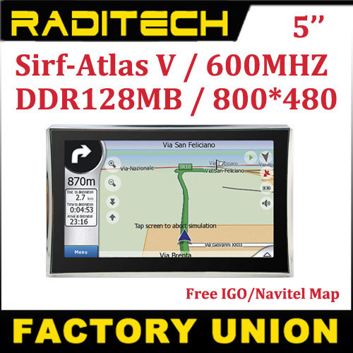 Apical 5 inch Car GPS auto GPS navigator sirf Atlas V 4GB CPU 600MHZ 128M RAM