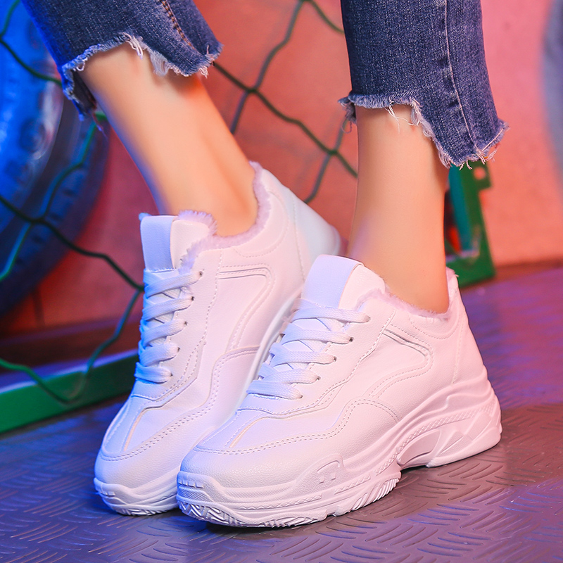 Fashion Women Casual Shoes Suede Leather Plush Platform Shoes Women  Sneakers Ladies White Trainers Chaussure Femme BeautyFeet-in Women s Flats  from Shoes on ... 11b76c31ef0b