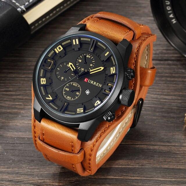 f028d425779 2018 homens Assistir Famosa Marca de Luxo Steampunk Preto CURREN Relógios  Homens Esportes Relógio Masculino Homens