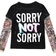 2020 Summer Boys Clothes Cotton T-shirt Long Sleeve Children Tattoo Tees Baby Girls Boys Sweatshirt SORRY NOT SORRY/HIPSTER