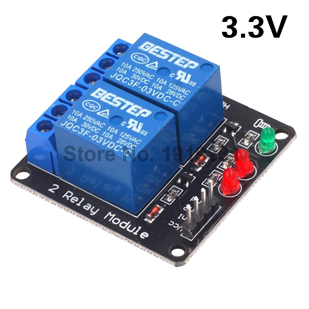 3.3V 2 Channel 3V Relay Module with Lamp Low Level Trigger 2 Channel Relay Module