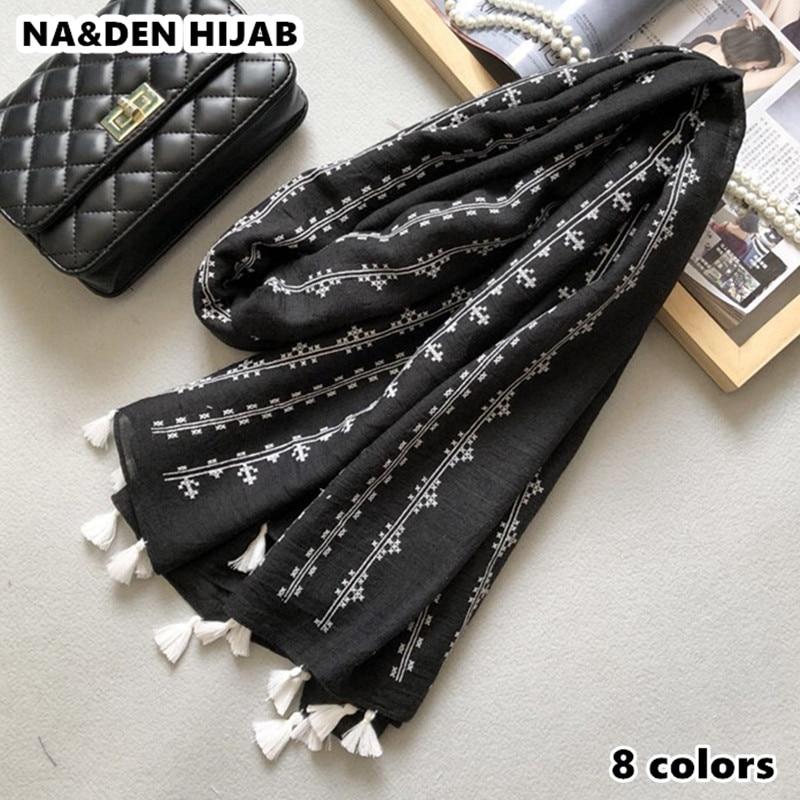 2019 new scarf vintage striped pattern scarves shawls tassel print long shawl women popular muslim hijab