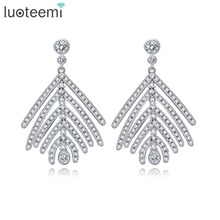 LUOTEEMI Wholesale Free Shipping Women Charm Zircon Feather Stud Earrings Fashion Women White Gold Jewelry For