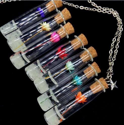 1 Sets 70 Cm Magisches Glühen In Der Dunkelheit Vintage Licht Getrocknete Blumen Anhänger Halskette Fluoreszierende Licht Wünschen Flasche Kette Halskette