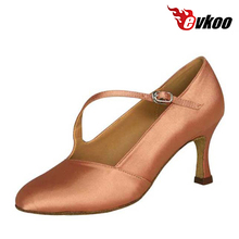 Evkoodance Closed Toe Salsa Shoes 4 Colors Black White Tan Khaki Woman 7cm Heel Soft Sole Latin Ballroom Dance Shoes Evkoo-027