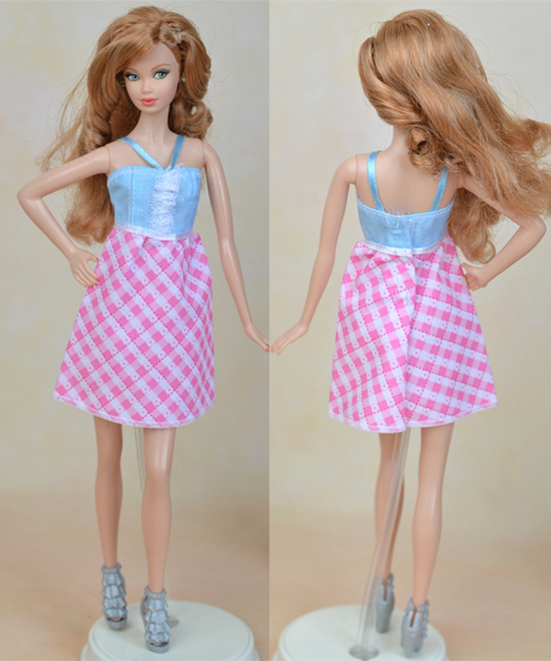 """Pink Plaid Fashion Doll Clothes A-line Casual Dress For 11.5/"""" Doll Short Dresses"""