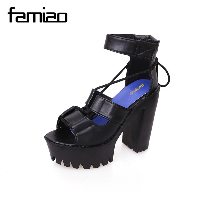 FAMIAO Fashion Summer Shoes Gladiator Women Sandals Casual Cut-outs Open Toe Thick Heels 13cm Female Gladiator Shoes High Heels newest summer high heel black white multi buckle sandals ladies open toe gladiator sandals cut outs designs shoes