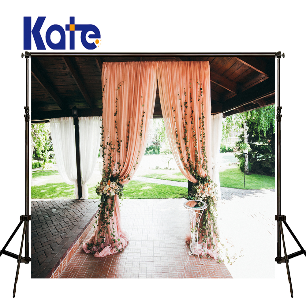 KATE Photography Backdrops Flower Wedding Backdrops Pink Curtain Background Brick Floor Photography Photo for Photocall Wedding kate flower wall pink backdrop romantic wedding photography backdrops spring photography backdrops large size seamless p