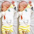 2 UNIDS Bebé Niños Ropa Linda Con Capucha Camiseta Tops + Pants Deer Imprimir Unisex Conjuntos Traje