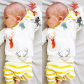 2PCS Baby Children Clothing Cute Hooded T-shirt Tops+Pants Deer Print Unisex Outfit Sets