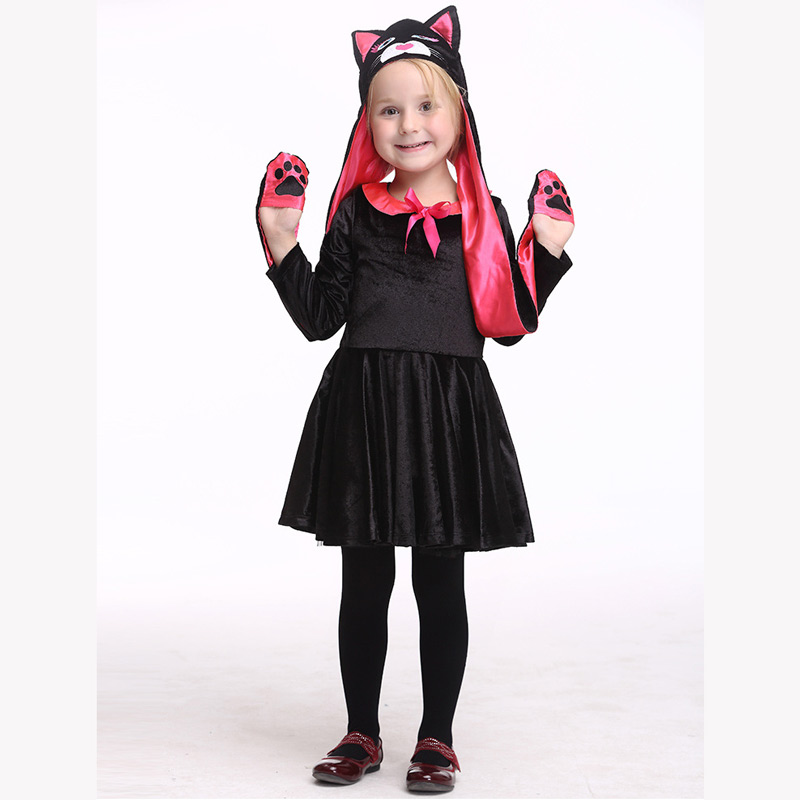 Halloween Costumes for Kids Cosplay Long sleeves Cat hat dress Stage Outfits for Children Set  Infant Girls Clothes for Party аксессуары для косплея cosplay