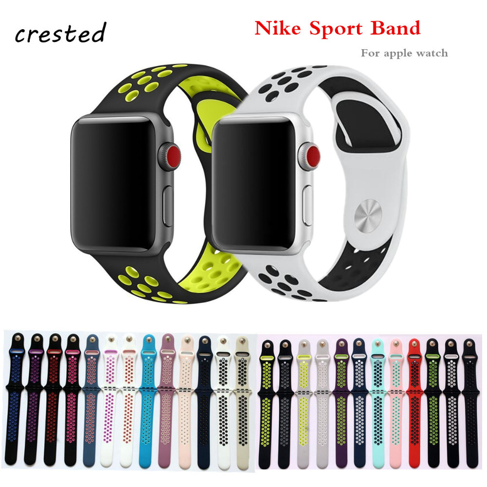все цены на Silicone strap For Apple Watch Band 42mm 38mm sport bracelet wrist belt For iWatch 3/2/1 Nike rubber watchband watch Accessories онлайн