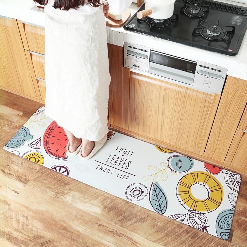 Qualité PU cuir tapis de cuisine anti-dérapant salle de bain tapis imperméable tapis de cuisine armoire/balcon tapis de sol maison entrée paillasson
