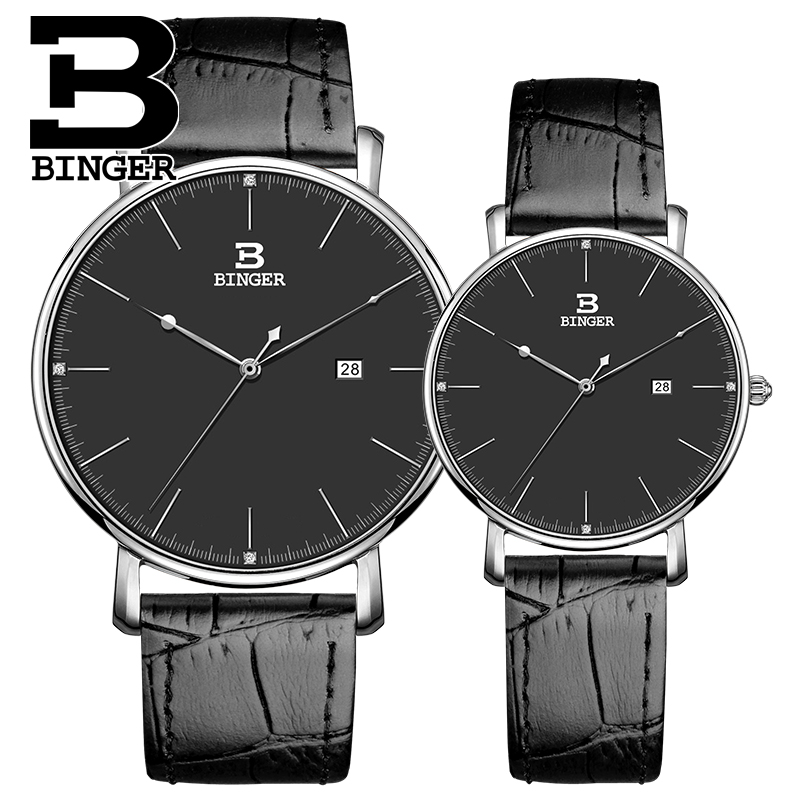 Classic Binger Leather Quartz Watch Brand Women Watches Lovers Jewelly Casual Watch Relogio Feminino Clock Woman Wristwatch 2017 new brand binger quartz watch lovers wristwatches women men leather dress wristwatch relogio fashion casual quartz watches
