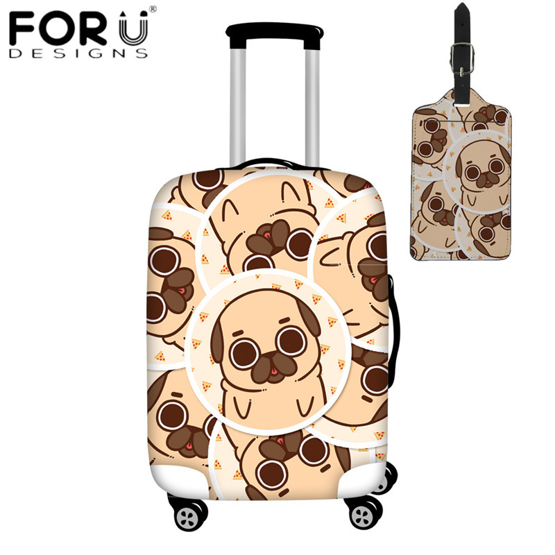 FORUDESIGNS Cartoon Playful Pug Print Suitcase Protective Covers Luggage Tag Elastic Trolley Case Dust Rain Cover For 18-32 Inch