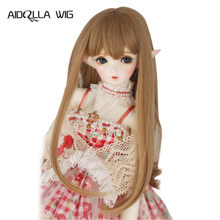 Heat Resistant Wire Bjd SD Wig for 1/3 1/4 1/6 Doll Long Straight Hair Doll Wigs With Bangs AIDOLLA(China)