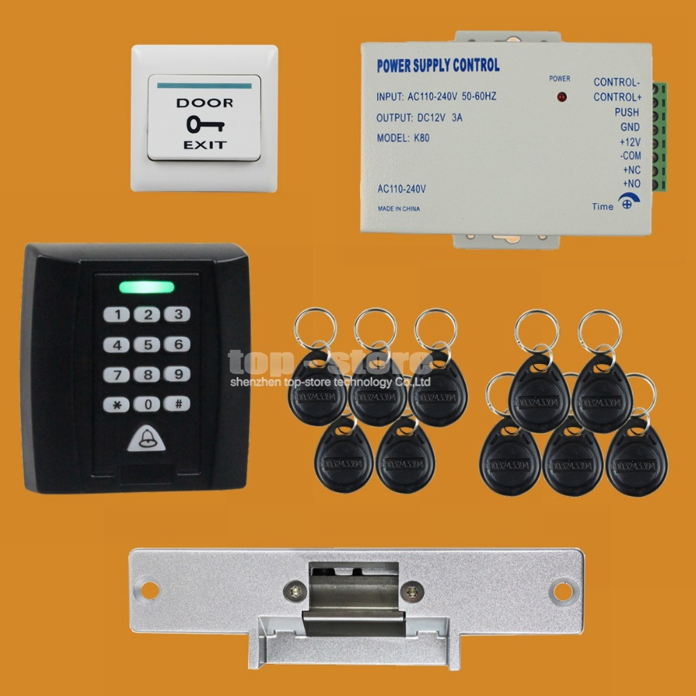 DIYSECUR 125KHz RFID Password Keypad Access Control System Security Kit + Electric Strike Lock Door Lock + Exit Button KS158