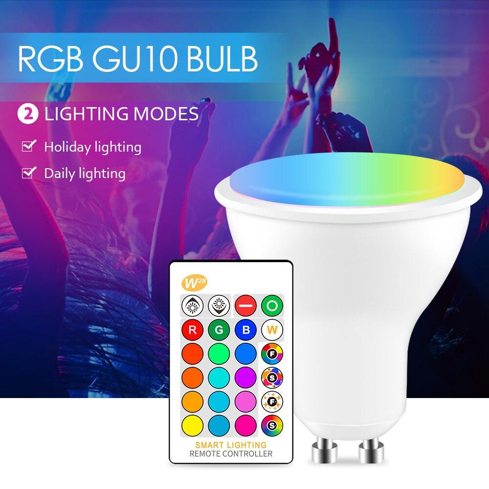 LED RGB Lâmpada 8 GU10 W Lâmpada Luz 110V 220V Lâmpada LED RGBW RGBWW Lâmpada Lampada LEVOU 16 Cores Mutável Com Controle Remoto IR