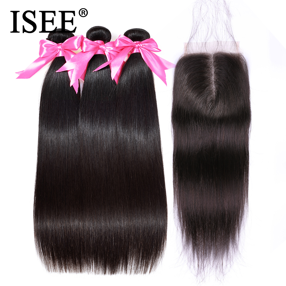 ISEE HAIR Human Hair Bundles With Closure Remy 3 Bundles With Closure Nature Color Malaysian Straight Hair Bundles With Closure