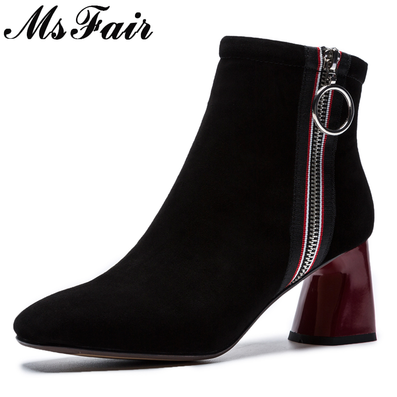 MSFAIR Square Toe Square heel Women Boots Fashion Metal Zipper Ankle Boots Women Shoes High Heel Black Boots Shoes Woman Brand цена