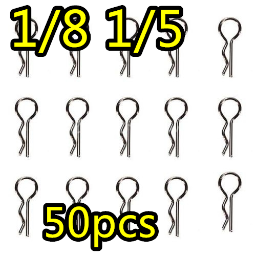 цена на 50pcs Body Shell Clip R Pins for 1/8 1/5 RC Hobby Model Car Metal fixed shell HSP HPI baja 5b parts rovan km rc cars