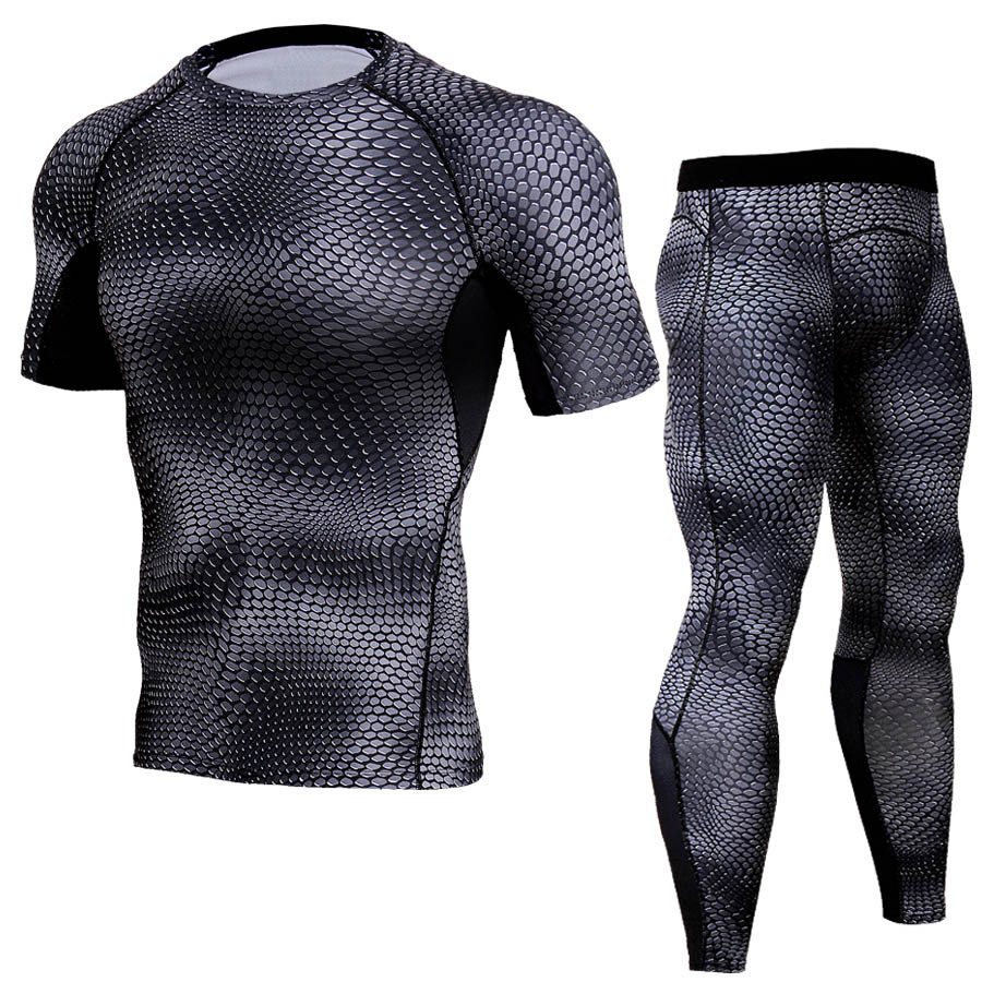Bodybuilding Elastic Compression Tight Mens T Shirt Set 3D Printed Short Sleeve Crossfit ...