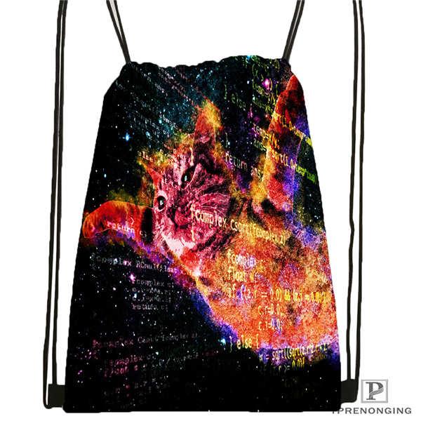 Custom Spacecat  (36)@1  Drawstring Backpack Bag Cute Daypack Kids Satchel (Black Back) 31x40cm#180612-03-cat