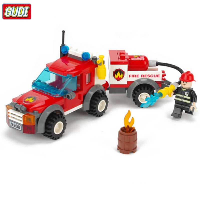 GUDI Fire Truck Blocks Children Educational Assembled Model Building Kits Blocks Toy Boy Kid Best Christmas Gift Brinquedos 9208 jie star fire ladder truck 3 kinds deformations city fire series building block toys for children diy assembled block toy 22024