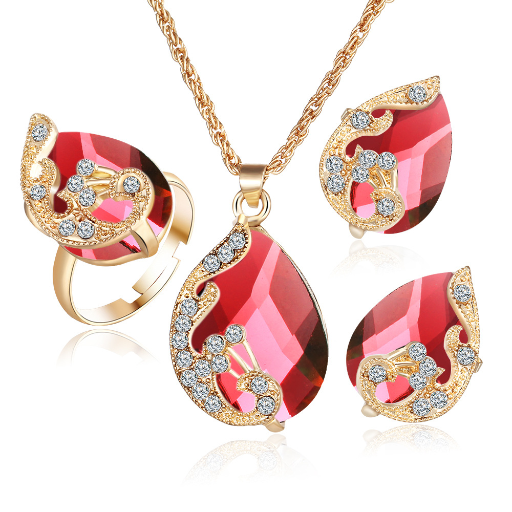 Best Selling Three-piece Gold Plated Crystal Water Drops Peacock Three-piece Kit Pendant Necklace Earrings Ring Set Women
