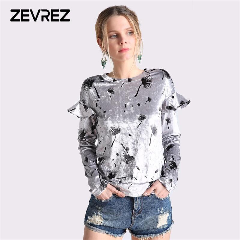 Automne Hiver Femelle Velours T-shirts À Manches Longues Sexy O-cou Imprimé Floral Ruches Casual Femmes de Tops Plus La Taille 4XL Zevrez