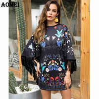 Printing Dress with Tassel Trim Autumn Loose Casual Lady Women Fringe Vintage Floral Mini Short Gowns Tunic Street Wear Dresses