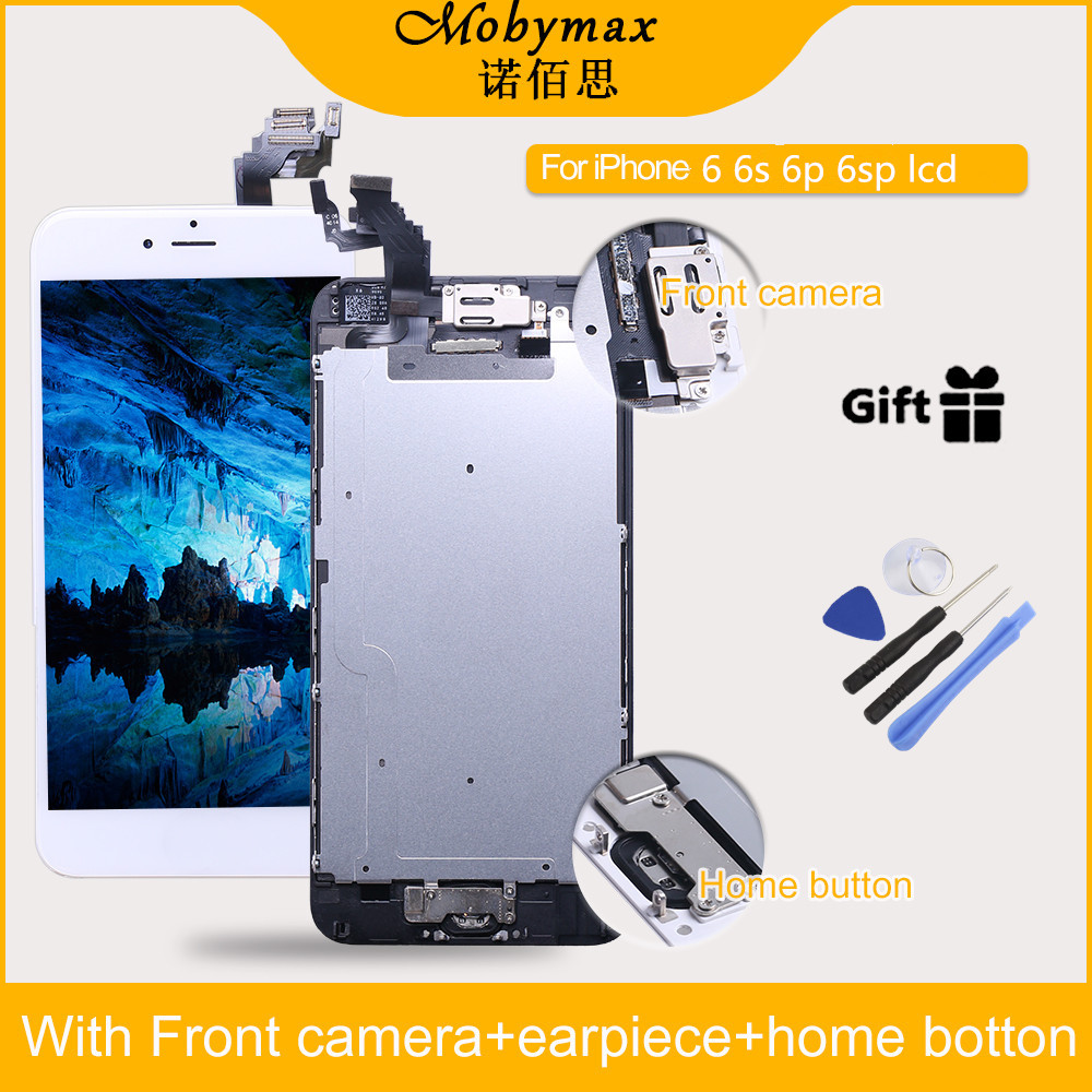For iPhone 6 6s + LCD Full Assembly Touch Screen Display for iphone 6 6s plus Front Camera+Home Button+Tempered Glass+Tool set image